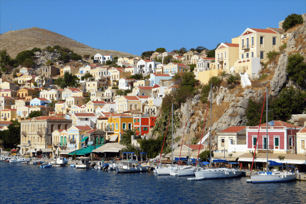 A picturesque port in one of the Greek islands