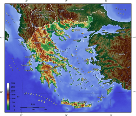 Geophysical map of Greece and the Greek Islands